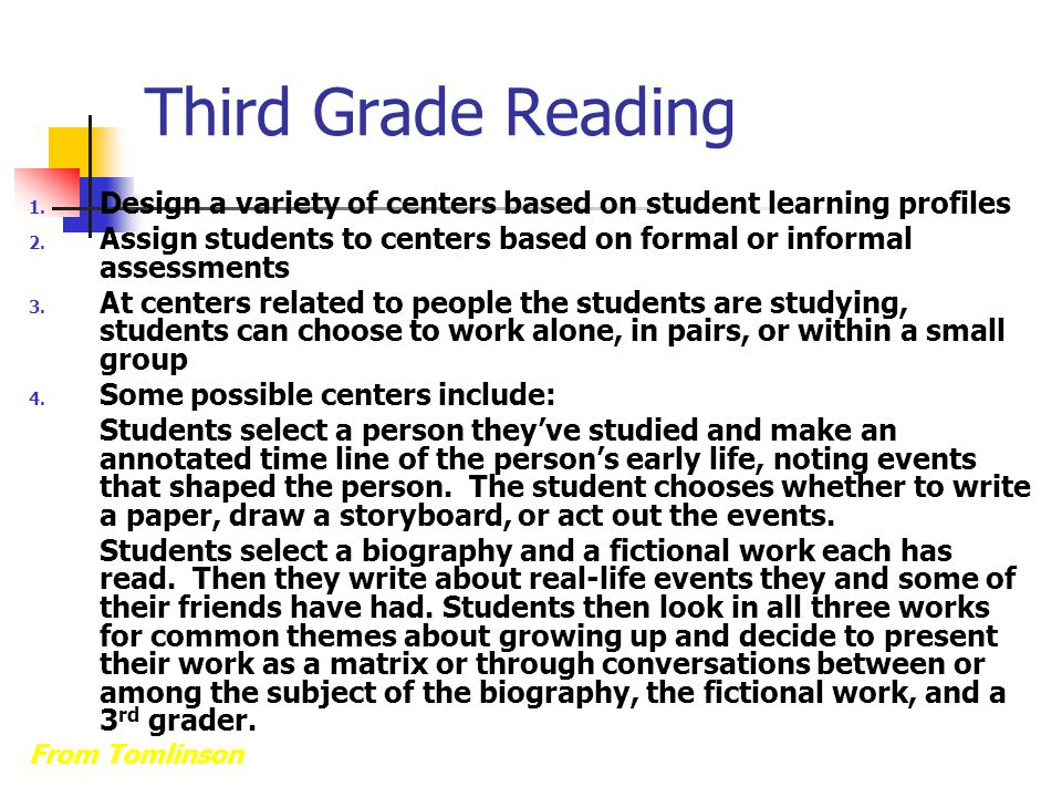 Third Grade Reading Design a variety of centers based on student learning profiles.