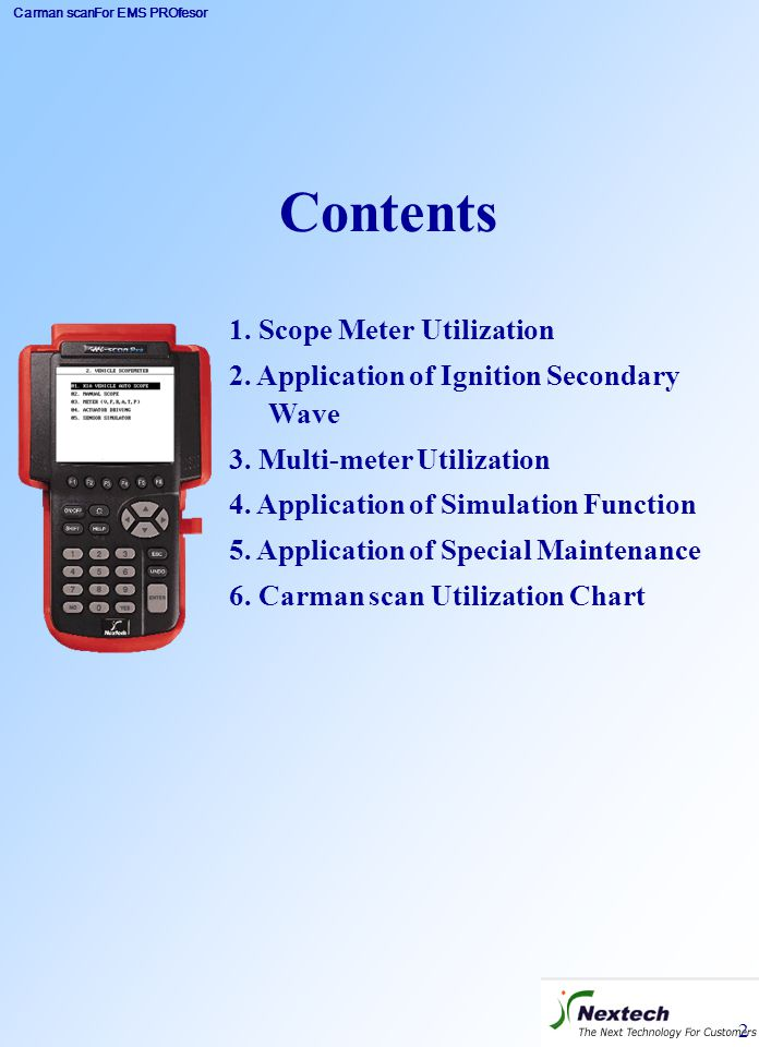 Contents 1. Scope Meter Utilization