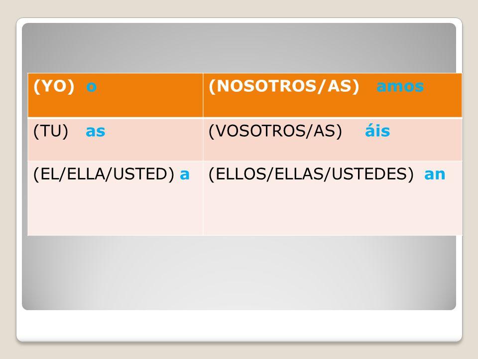(YO) o (NOSOTROS/AS) amos. (TU) as. (VOSOTROS/AS) áis.