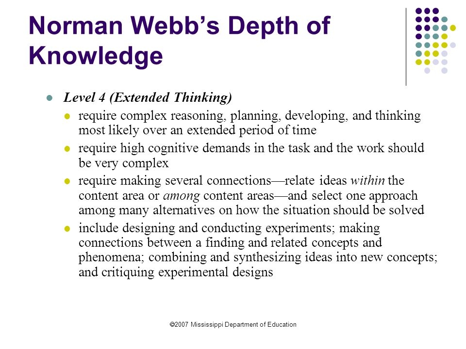 Norman Webb's Depth of Knowledge