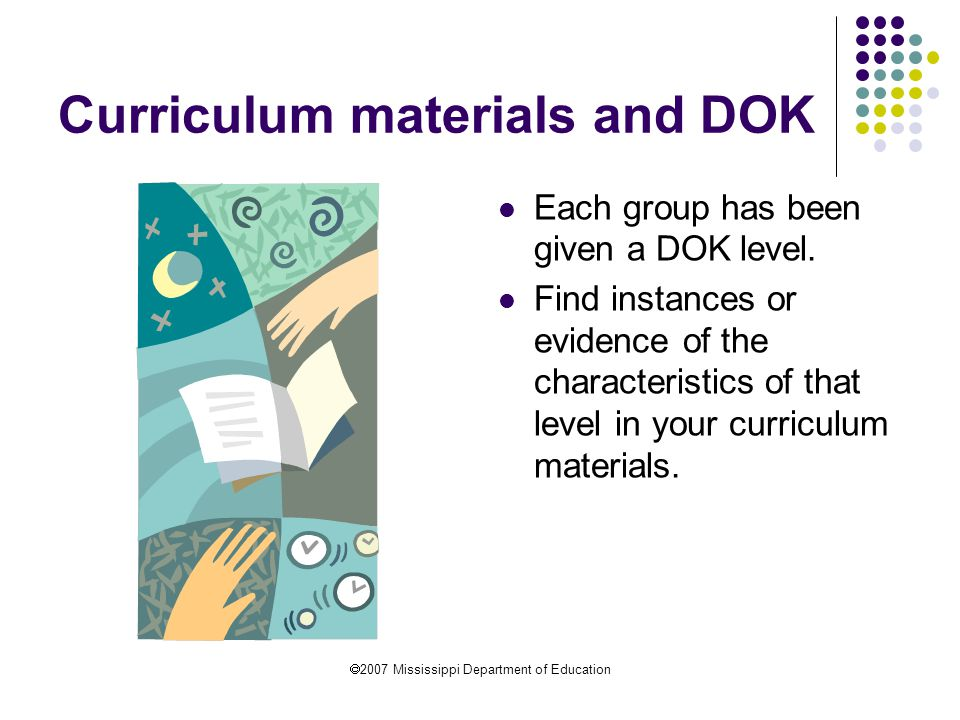 Curriculum materials and DOK
