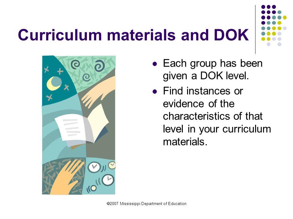 Curriculum materials and DOK