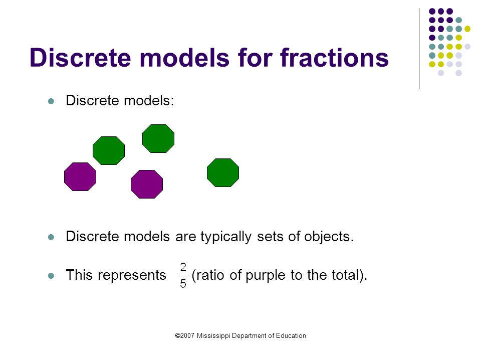 Discrete models for fractions
