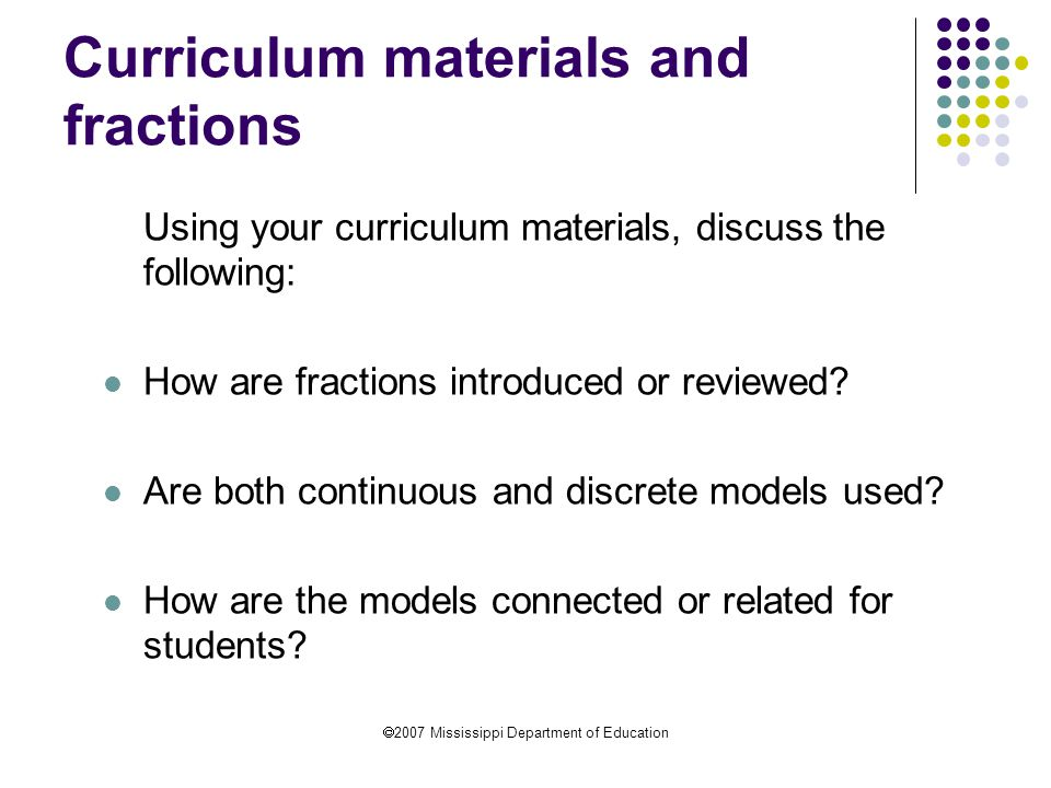 Curriculum materials and fractions