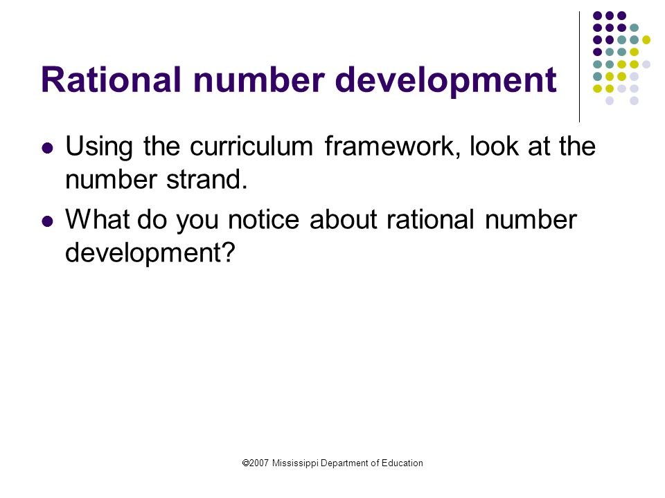 Rational number development