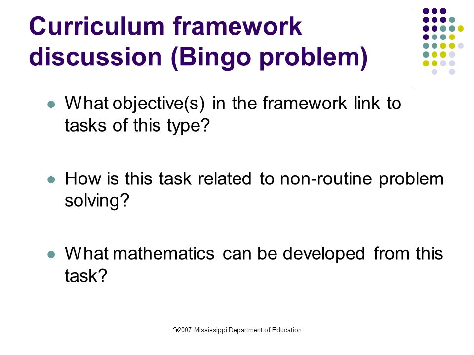 Curriculum framework discussion (Bingo problem)