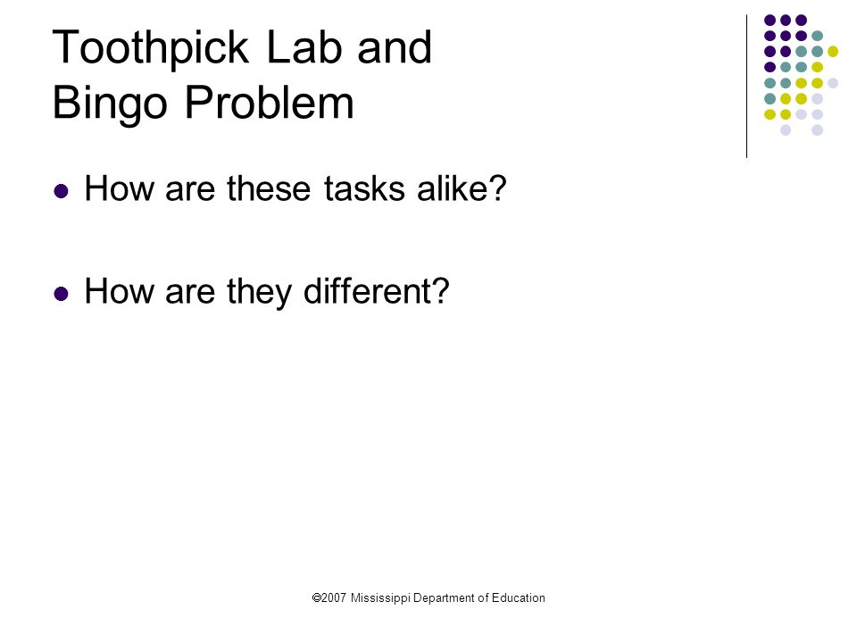 Toothpick Lab and Bingo Problem