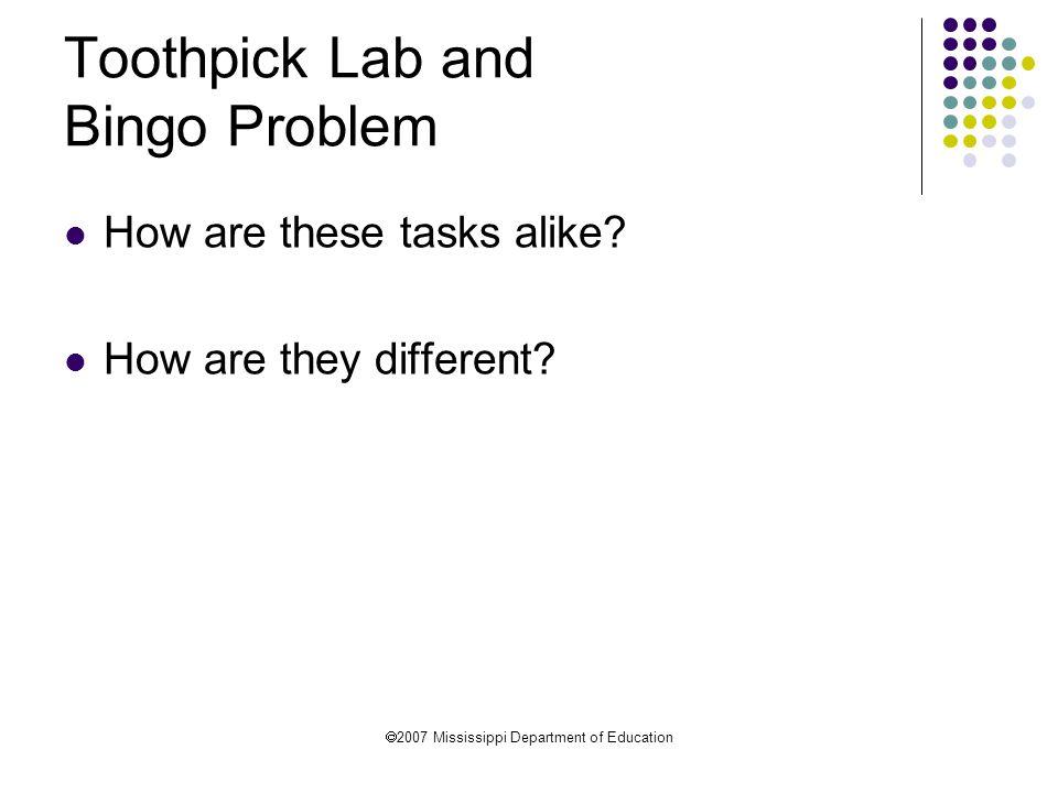Toothpick Lab and Bingo Problem