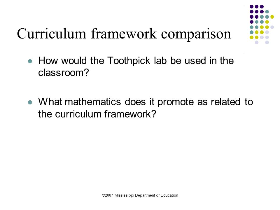 Curriculum framework comparison