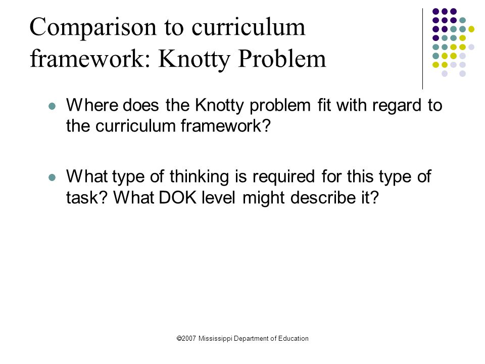 Comparison to curriculum framework: Knotty Problem