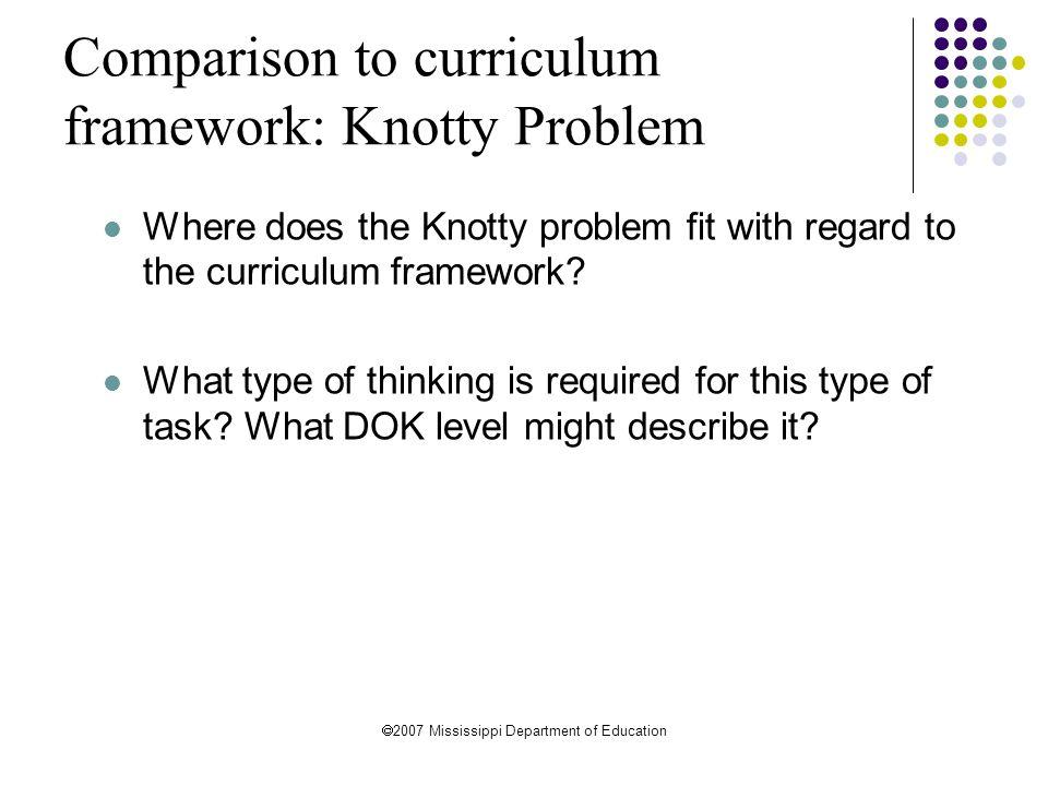 Comparison to curriculum framework: Knotty Problem