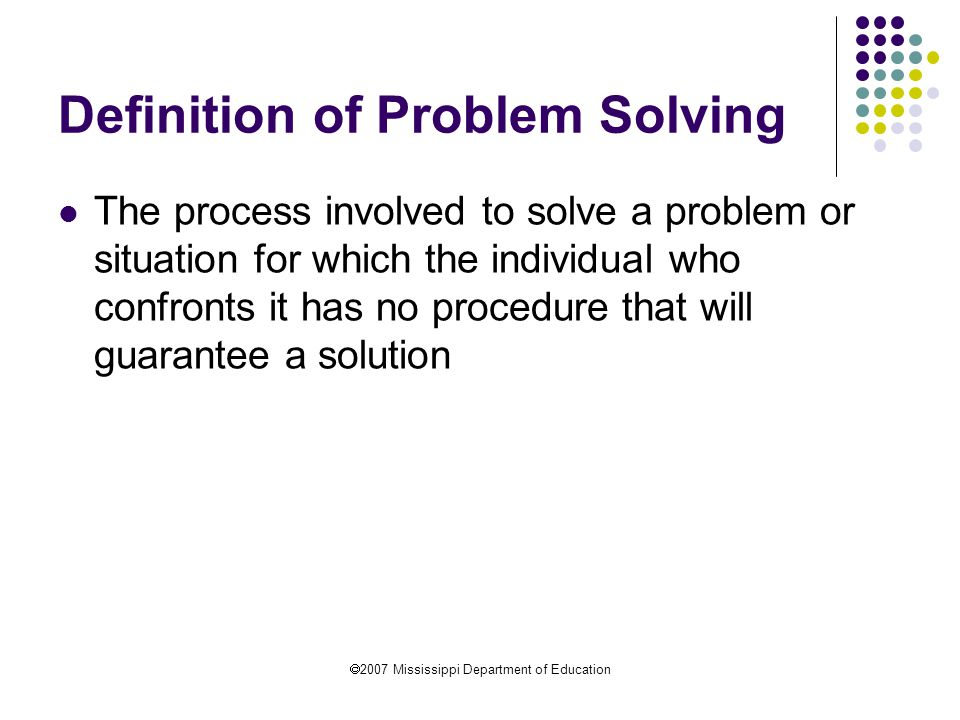 Definition of Problem Solving
