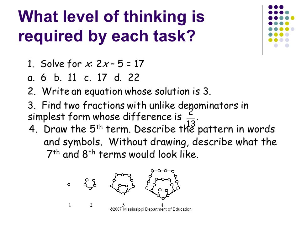 What level of thinking is required by each task