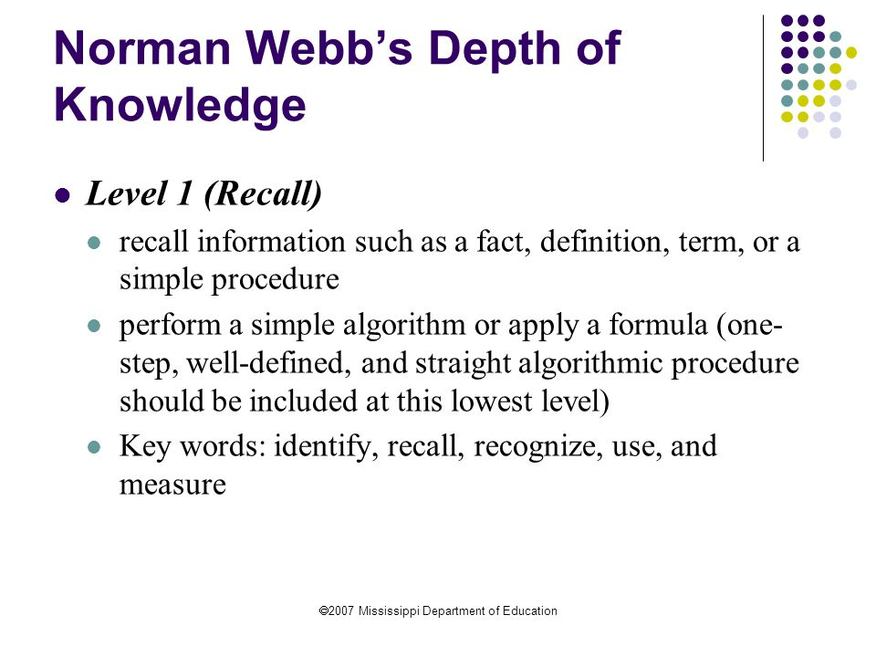 Norman Webb's Depth of Knowledge