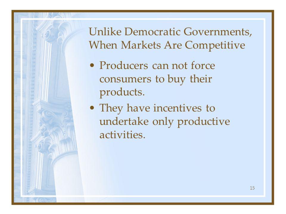 Unlike Democratic Governments, When Markets Are Competitive