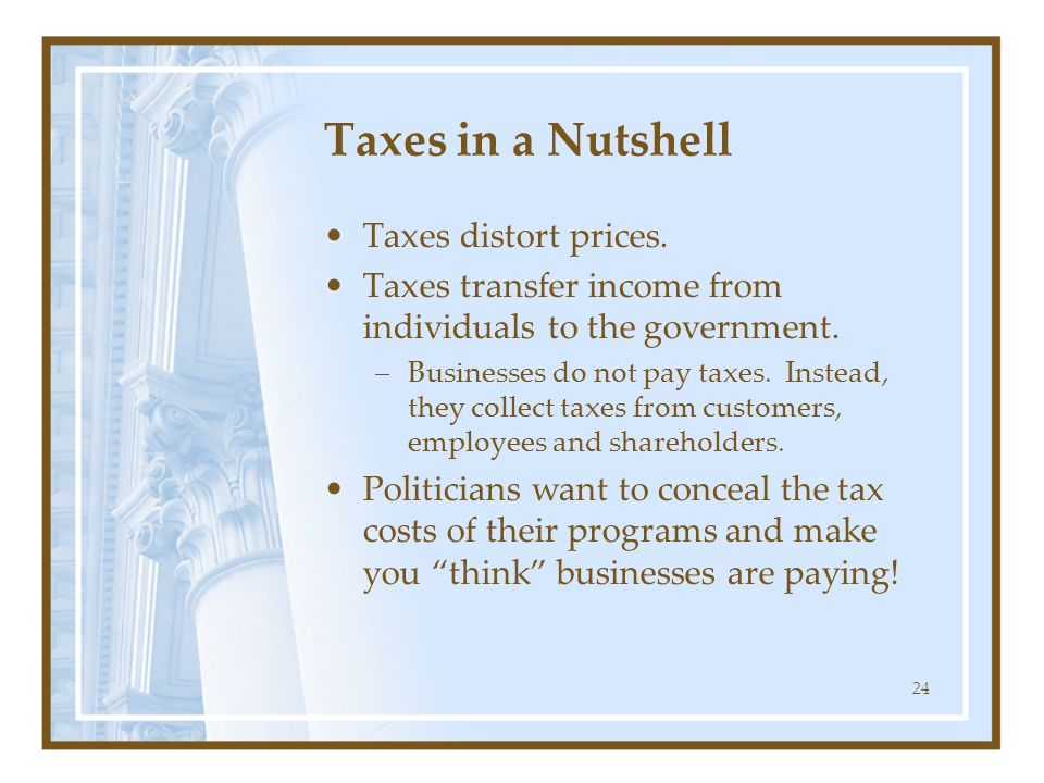 Taxes in a Nutshell Taxes distort prices.