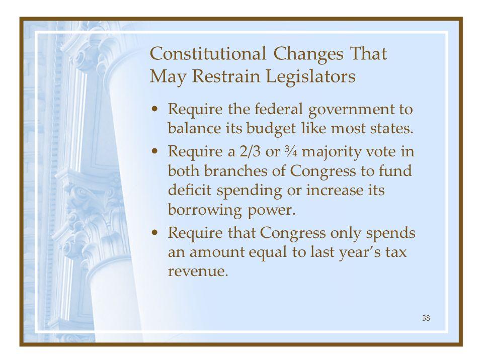 Constitutional Changes That May Restrain Legislators
