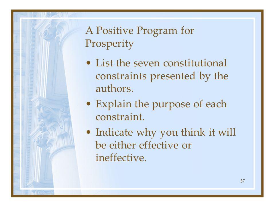 A Positive Program for Prosperity