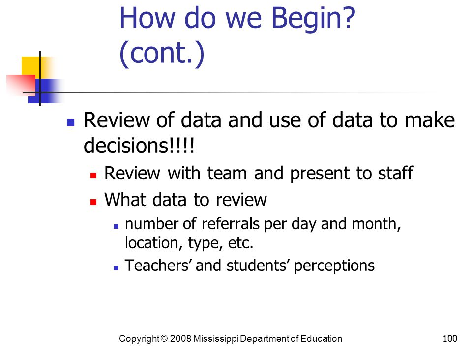 How do we Begin (cont.) Review of data and use of data to make decisions!!!! Review with team and present to staff.