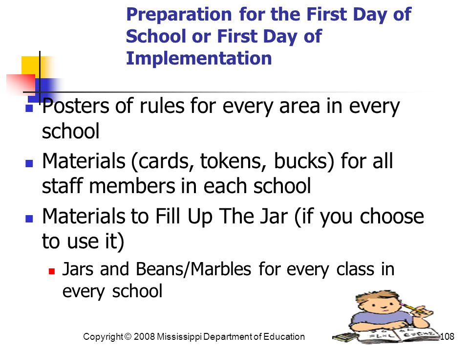 Preparation for the First Day of School or First Day of Implementation