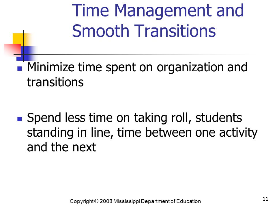 Time Management and Smooth Transitions