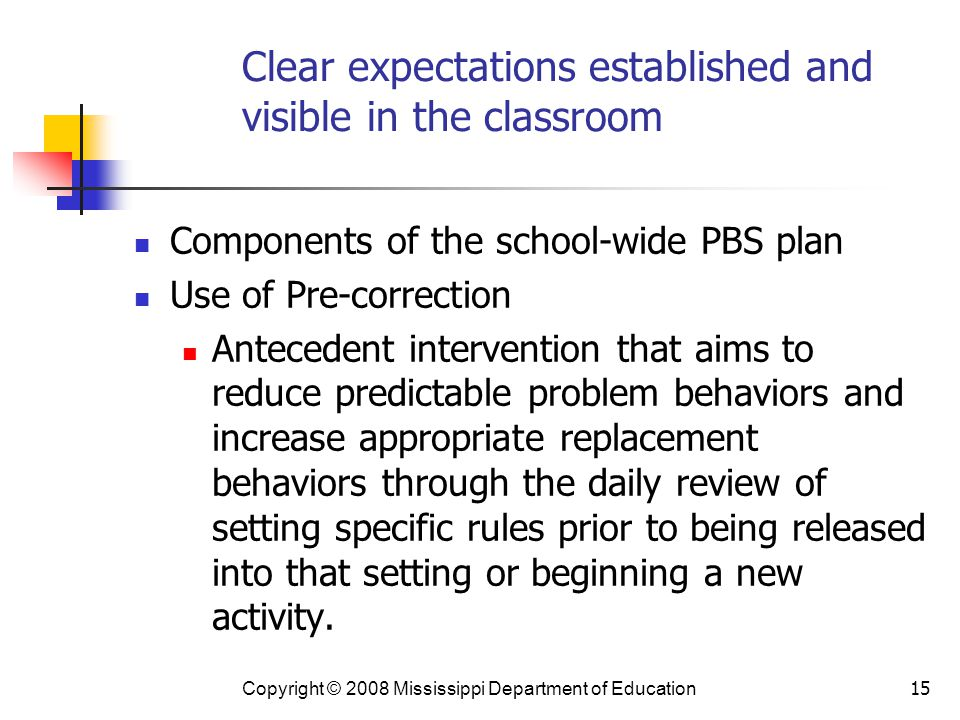 Clear expectations established and visible in the classroom