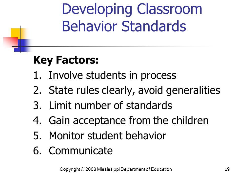 Developing Classroom Behavior Standards