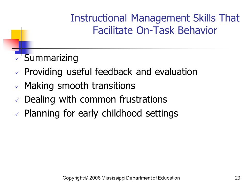 Instructional Management Skills That Facilitate On-Task Behavior