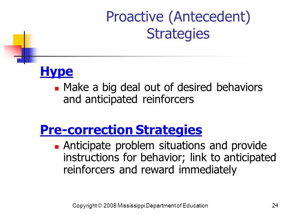 Proactive (Antecedent) Strategies