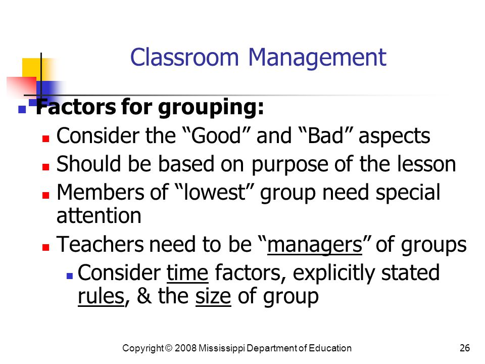 Classroom Management Factors for grouping: