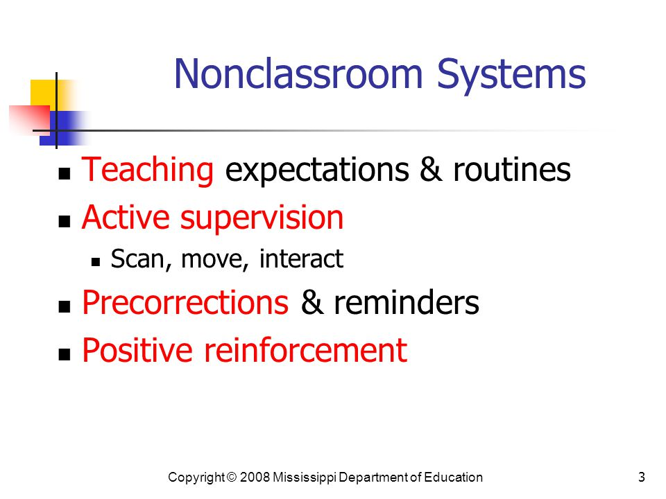Nonclassroom Systems Teaching expectations & routines