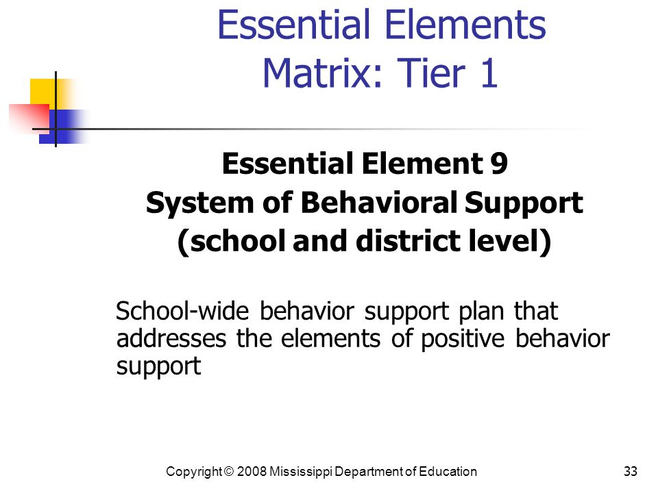 Essential Elements Matrix: Tier 1