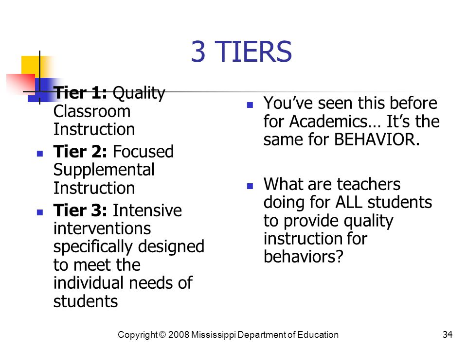 3 TIERS Tier 1: Quality Classroom Instruction