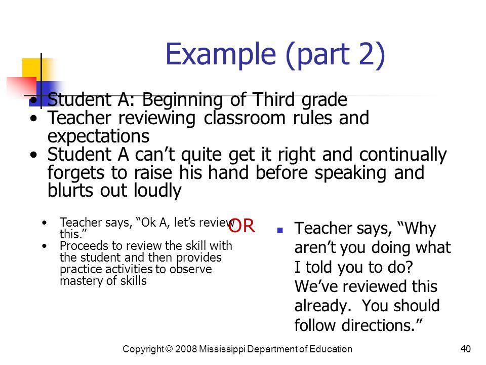 Example (part 2) Student A: Beginning of Third grade