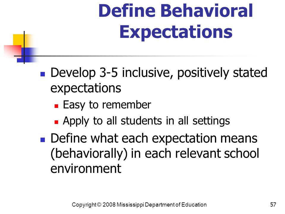 Define Behavioral Expectations