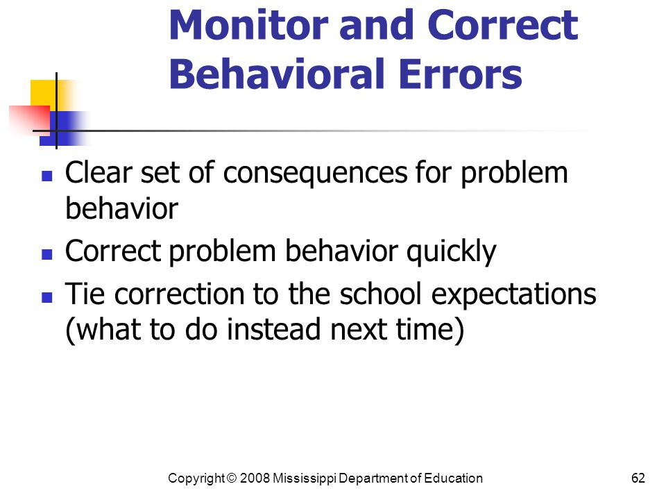Monitor and Correct Behavioral Errors