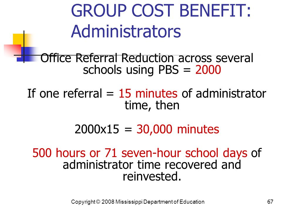 GROUP COST BENEFIT: Administrators