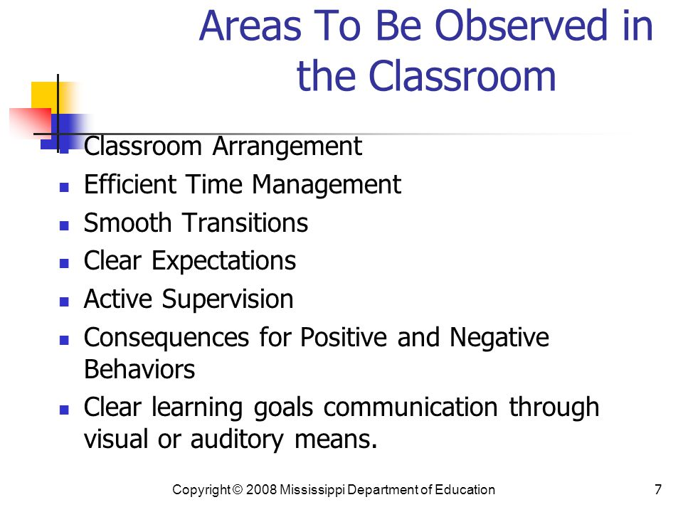 Areas To Be Observed in the Classroom