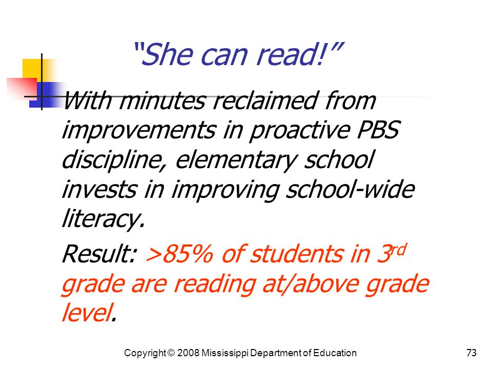She can read! With minutes reclaimed from improvements in proactive PBS discipline, elementary school invests in improving school-wide literacy.