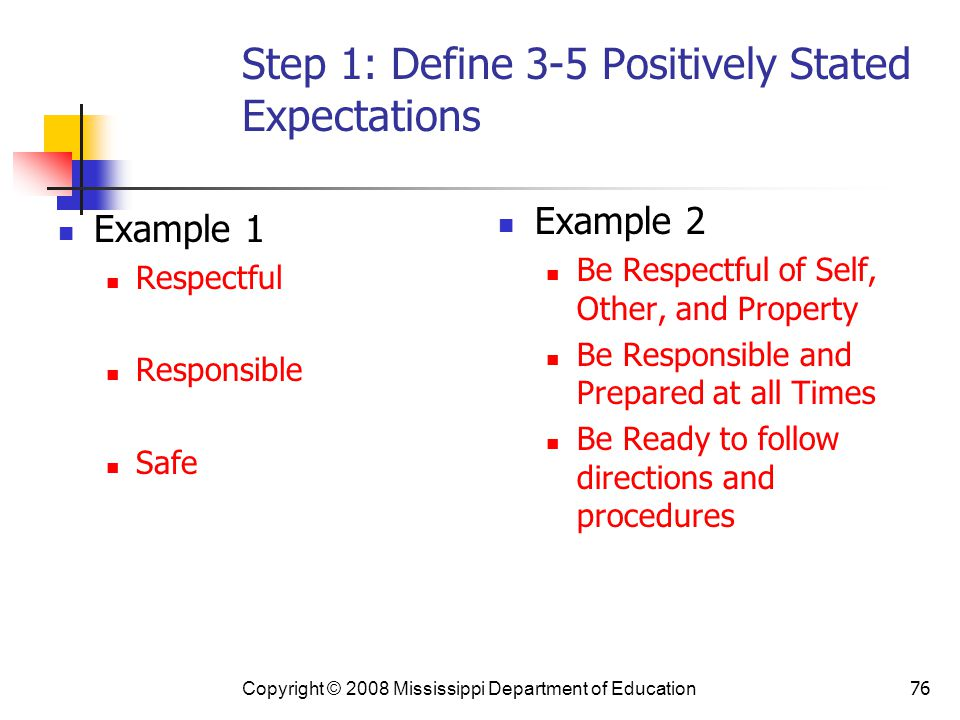 Step 1: Define 3-5 Positively Stated Expectations