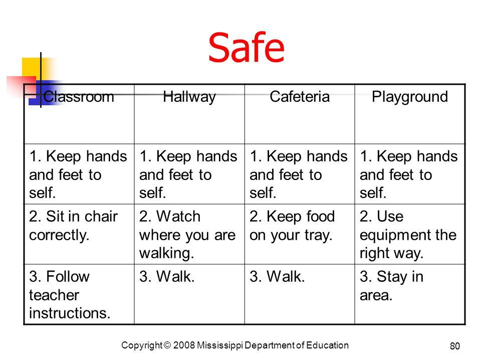Safe Classroom Hallway Cafeteria Playground