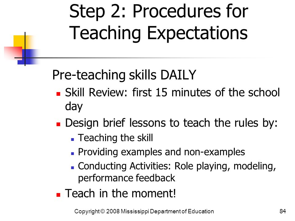 Step 2: Procedures for Teaching Expectations