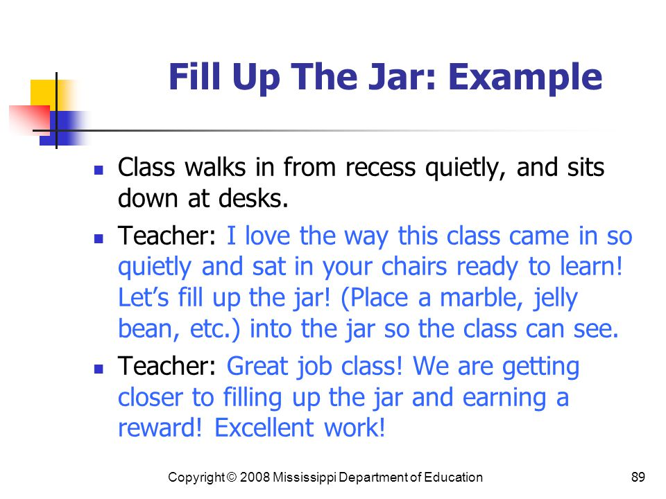 Fill Up The Jar: Example
