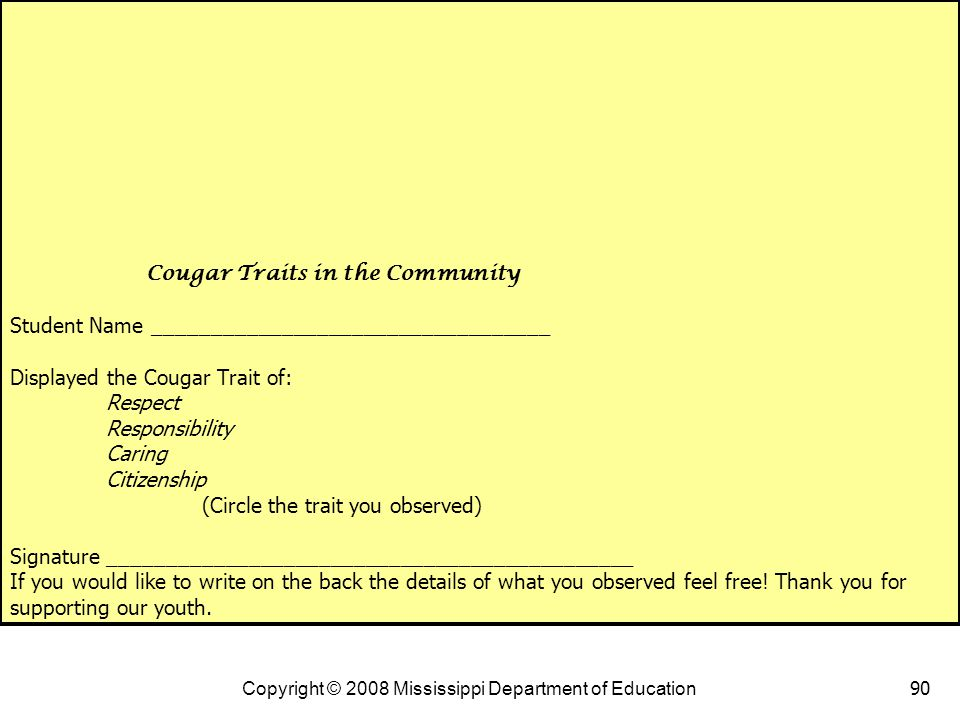Cougar Traits in the Community Student Name __________________________________ Displayed the Cougar Trait of: Respect Responsibility Caring Citizenship (Circle the trait you observed) Signature _____________________________________________ If you would like to write on the back the details of what you observed feel free! Thank you for supporting our youth.