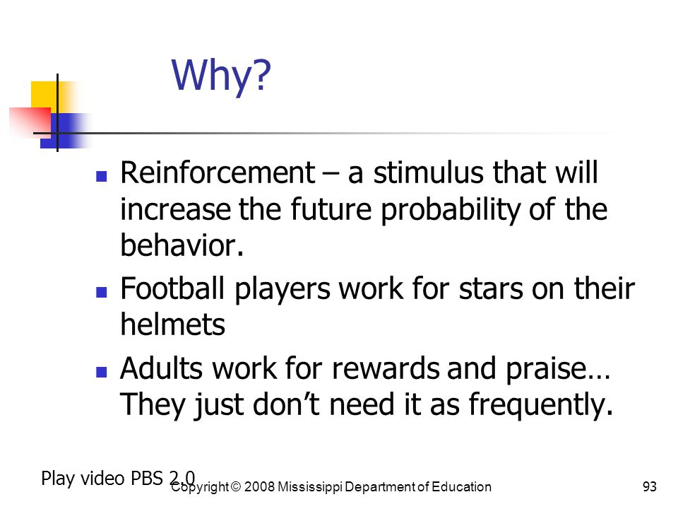 Why Reinforcement – a stimulus that will increase the future probability of the behavior. Football players work for stars on their helmets.