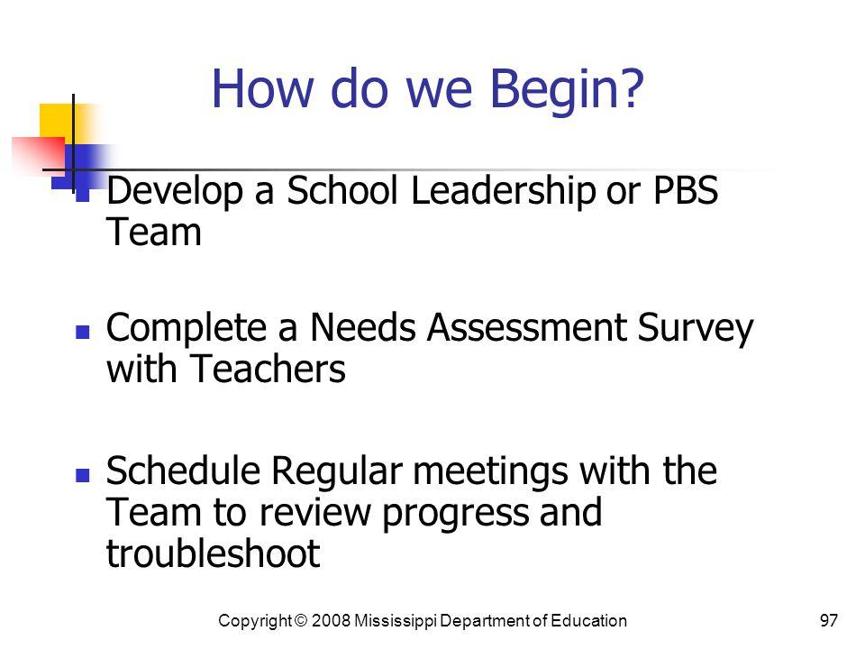 How do we Begin Develop a School Leadership or PBS Team