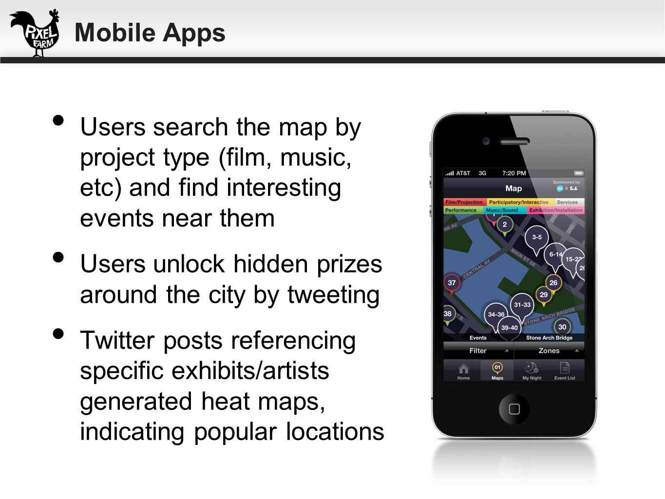Mobile Apps Users search the map by project type (film, music, etc) and find interesting events near them.