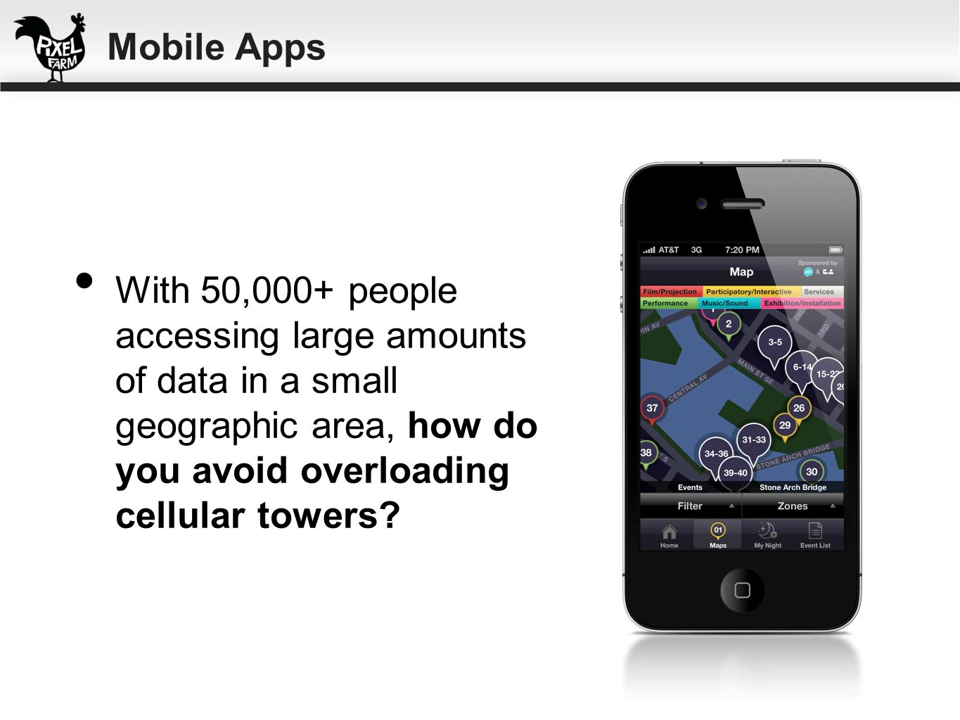 Mobile Apps With 50,000+ people accessing large amounts of data in a small geographic area, how do you avoid overloading cellular towers
