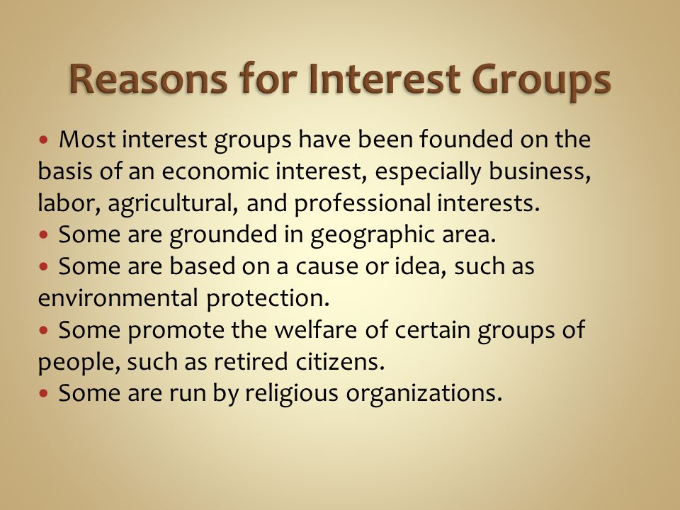 Reasons for Interest Groups