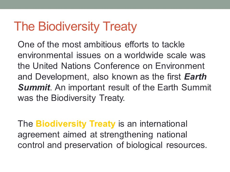 The Biodiversity Treaty